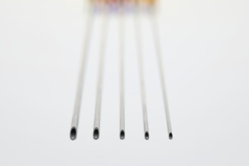 Opu needles of different diameters